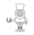 leprechaun holding horseshoe for luck traditional vector image vector image