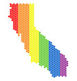 lgbt spectrum pixel california map vector image