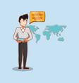 man chatting world connection social media vector image
