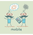 man is happy without a mobile vector image vector image