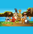 many animals river vector image