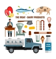 Meat and dairy products objects isolated on vector image vector image