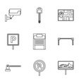 Parking icons set outline style vector image