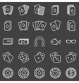 Poker or casino icons set on black background vector image vector image
