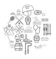 professional icons set outline style vector image vector image