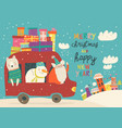 santa claus with bear and snowman riding in car vector image