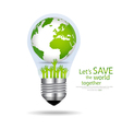 Save the world Light bulb with globe inside vector image