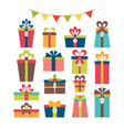 set different gift boxes christmas presents vector image vector image