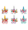 set isolated cute unicorn faces vector image vector image