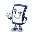 smartphone mascot giving a thumbs up vector image