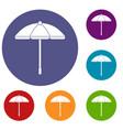 sun umbrella icons set vector image vector image