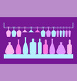 tableware for cocktail glass and bottle vector image vector image