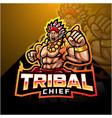 tribal chief esport mascot logo vector image