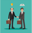 two businessmen shaking hands on a bargain flat vector image