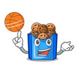 with basketball cartoon fried falafel is ready eat vector image