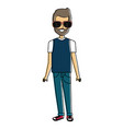 young man avatar with sunglasses character vector image