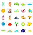 east asia icons set cartoon style vector image