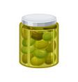 jar of green olives vector image