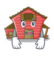 afraid spring day with a red barn cartoon vector image vector image
