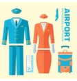 airplane pilot and stewardess uniform on flat vector image