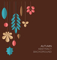 autumn dark abstract floral background with leafs vector image