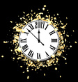 Black 2017 New Year clock background vector image