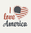 calligraphic lettering i love america with us flag vector image