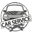car service retro logo in doodle style vector image