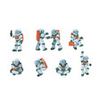 cartoon spaceman cosmonaut spacesuit set vector image vector image