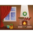 Christmas interior and fireplace vector image vector image
