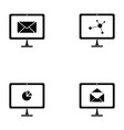computer screen icon set vector image vector image