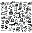 Crime violence - doodles set vector image