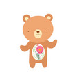 cute bear with tummy made floral seamless vector image vector image