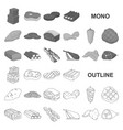 different meat monochrom icons in set collection vector image