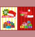 discount christmas sale poster santa claus hat box vector image vector image