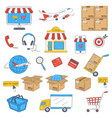 e-commerce and online shopping hand drawn icons vector image vector image
