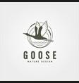 flying goose river bank logo symbol design vector image