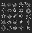 hand drawn stars pen sketch star collection vector image