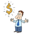 happy cartoon businessman with dollar sign vector image vector image