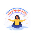 happy woman sits in lotus pose and open her arms vector image vector image