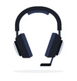 headphones with microphone flat isolated vector image