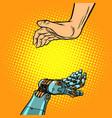 human and robot hands presentation gesture vector image vector image