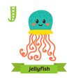 Jellyfish J letter Cute children animal alphabet vector image vector image