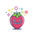 kawaii smiling strawberry emoticon cartoon vector image vector image