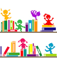 kids playing books Shelves vector image vector image