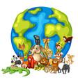 many animals round world on white background