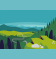 mountain valley landscape with panoramic view vector image vector image