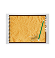 Old brown Crumpled paper notebook vector image