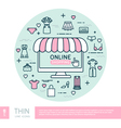 Online shopping Set with woman clothes vector image