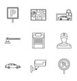 Parking area icons set outline style vector image vector image